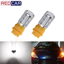 2PCS led Bulbs 3056 3156 3057 3157 p27/7w T25 Cree LED Chips -For car Rear Brake Lights Turn Signal Tail Lamps - Yellow/Amber(China)