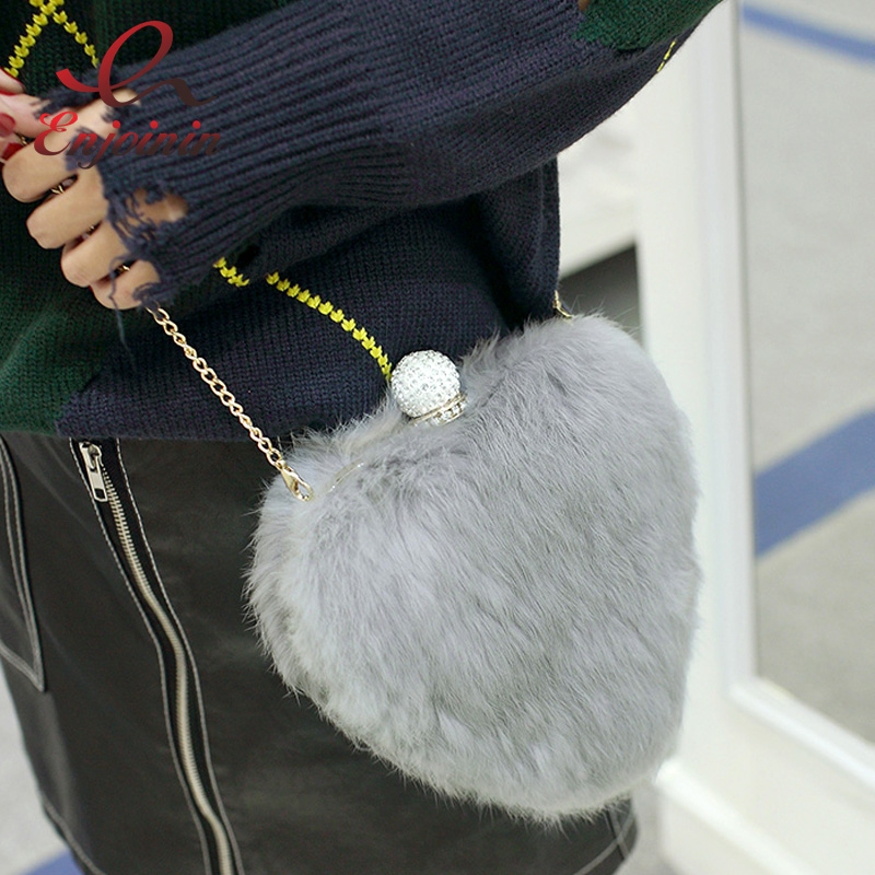Luxury fashion fur rabbit heart wool heart-shaped diamond ladies handbag evening party bag clutch bag chain shoulder bag purse <br>