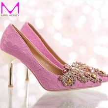 2016 New Design Pointed Toe Lace Wedding Party Shoes Satin Crystal High-heeled Bridal Shoes Beautiful Sandals Bridesmaid Shoes