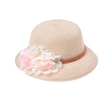 2017 New Summer Floral Straw Hats Fedora Hat Children Kids Visor Beach Sun Baby Girls Sunhat Wide Brim Floppy Panama For Girl