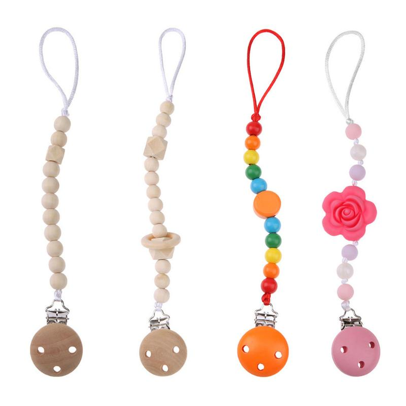 Infants Baby Pacifier Chain Nipples Holder Clip Safe Soft Silicone Beads Teether Pacifiers Chew Toys Shower Gifts