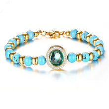 2017 Baby Blue Hematite Beads Bracelets For Women Gold Color Stainless Steel Round Bead Bracelet Crystal Summer Fashion Jewelry