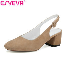 ESVEVA 2017 Women Pumps Square High Heel Summer Slingbacks Shoes Genuine Leather Pumps Elegant Women Wedding Shoes Size 34-39