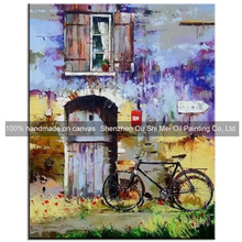 Handmade Paintings on Canvas Decorative Oil Painting Window Scenery Picture For Wall Decor Bicycle on Street Knife Landscape