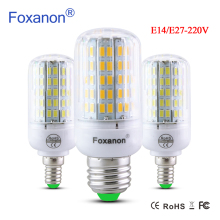 Foxanon 6pcs E27 220V LED Lamp 5730 SMD LED Bulb E14 Corn 24 30 42 64 80 89 108 136 Leds Lamp Bombillas Light Lampada Lighting