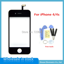 Black White Front Glass Lens + Touch Screen Digitizer For iPhone 6 plus 5 5S 4 4S Outer Touch Panel Screen Replacement  + Tools
