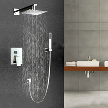 "Fashion 8"" Square ABS Ceiling Shower Head Shower Faucet Chrome Finish Soild Brass Single Handle Mixer Tap"