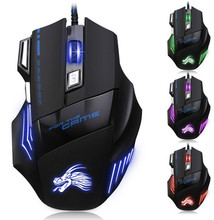 UE Wired Gaming Mouse USB Optical LED Lights Mouse Gamer 1000-5500 DPI with 7 Button For PC Laptop Desktop Computer Game(China)