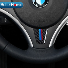 M Sport Edition Steering Wheel Carbon Fiber Car Sticker For bmw e90 e92 3 Series 2006 2007 2008 2009 2010 2011 2012 Car Styling(China)