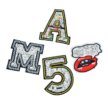 Urijk 4Pcs/Set Rhinestone Patches Iron On Embroidered Patches For Clothing Bag Applique Number Letter Sew On Badges Sticker(China)