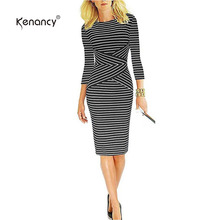 Kenancy Striped Print Party Work Sheath Women Dress 2017 OL Office Good Elastic Knee Length O-Neck 3/4 Sleeve Autumn Dress(China)