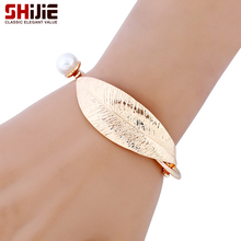SHIJIE Punk Lovely Imitation Pearl Cuff Bracelet Gold Silver color Leaf Mens Charm Bracelets & Bangles for Women Fashion Jewelry