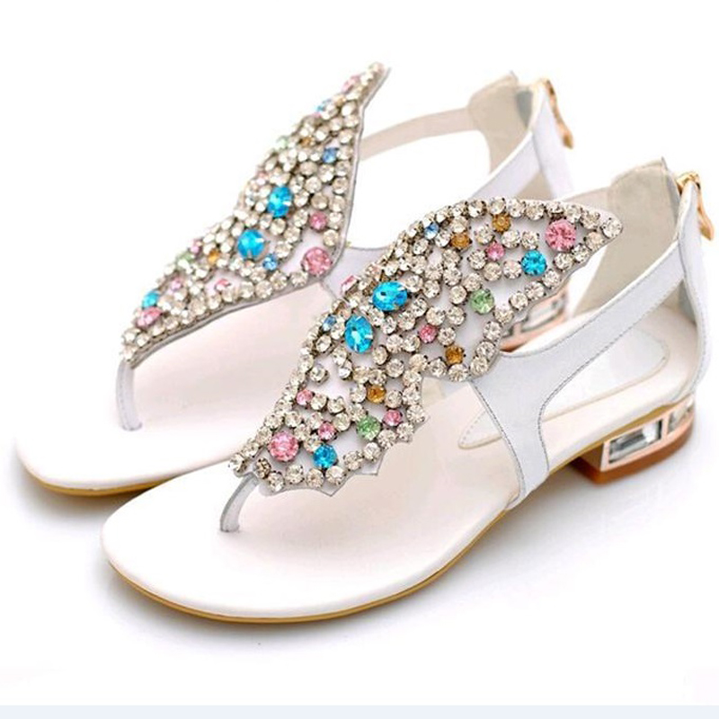 Womens shoes Colorful butterfly Rhinestone Genuine Leather Thong Sandals Flat heel Mixed colors Leisure Summer women sandals<br><br>Aliexpress