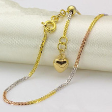 New Real 18k Multi-tone Gold Chain Women Men Luck 1.4mmW Wheat Adjustable Chain Necklace(China)