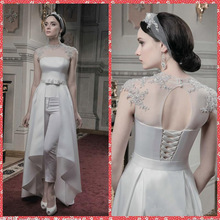 New Fashion Evening Dresses High Neck Beading Prom Suit Pants Satin Formal Gowns Cap Sleeves Removable Skirt robe de mariage