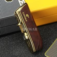 COHIBA Snake Mouth Shape Metal Windproof 3 Torch Jet Flame Cigarette Cigar Lighter w/ Built-in Cigar Punch w/ Gift Box