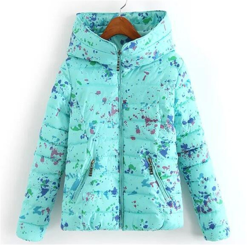 2017 new Winter Jacket Women cotton Down jacket short female plus size printed slim hooded Coat Ladies Warm Outerwear HQT091Одежда и ак�е��уары<br><br><br>Aliexpress