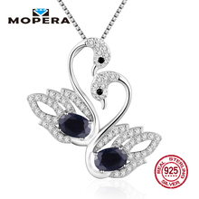 100% Real 925 Sterling Silver Pendant With Chain Elegant 4 kinds Natural Gemstone Double Animal Swan Pendant Necklaces For Women(China)