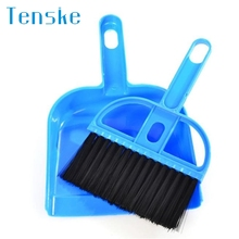 Tenske cleaning tools 2017 colorful Mini Desktop Sweep Cleaning Brush Small Broom Dustpan Set*25 gift Drop