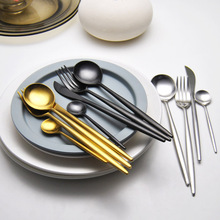 4Pcs/set Stainless Steel Black Dinnerware Set Gold Cutlery Set Fork Knife Scoops Wedding Silverware Set Drop Shipping(China)