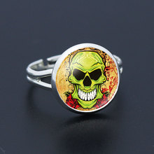 Fashion Silver Plated Green Skull Head Tooth Pattern Glass Cabochon Women Rings Adjustable 2016 New Arrival Friendship Gifts