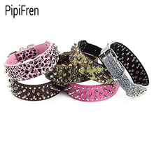 PipiFren Genuine leather Spiked Big Dogs Collars Rivet Accessories For Supplies Large Dog Necklace Pets Collar collier chien(China)