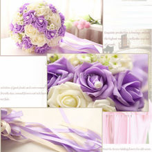 Top Quality Elegant Beaded Brooch Silk Bride Bridal Bouquet Pink Cream Blue Purple Artificial Flower pearl Wedding Flowers decor(China)