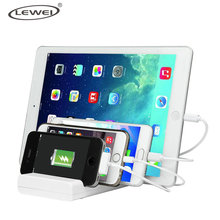 LEWEI For iPhone 7 6s Plus 4 Port Multi USB Charging Station Stand Desktop Charger Dock for Sumsung HTC Xiaomi Huawei LG