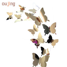 oujing Factory Price beautiful Decal Butterflies 3D Mirror Wall Stickers for Art Home Decors or Poster Wallpaper Aug15