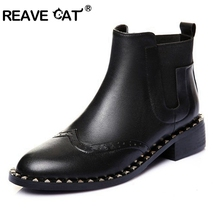REAVE CAT Plus size 42 Shoes woman Genuine leather Slip on Ankle boots With Spikes Women brand boots Women shoes RL3008