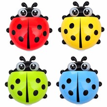 555# Cute Ladybug Insect Toothbrush Wall Suction Cartoon Sucker Toothbrush Holder / Suction STORAGE BASKET(China)