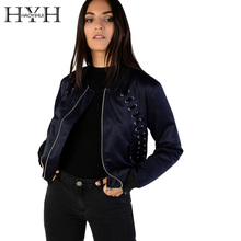 HYH HAOYIHUI Women Jacket Autumn Streetwear Elegant Zipper Short Coat Lace-up Long Sleeve Solid Slim Coat Basic Bomber Jacket