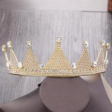 DIEZI Vintage Luxurious Crystal Gold Tiara Crown Wedding Hair Accessories Bridal Hair Jewelry Wedding Accessories