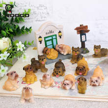Roogo 14pcs/lot puppy dogs statues home room desk Micro landscape decoration dog fans collection article birthday gift ideas