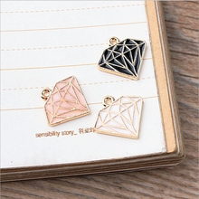 15*15mm Kawaii diamond shape Charm For diy Bracelet Key ring jewelry pendant supplies Decoration, Metal alloy Oil drop