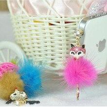 Cute little fox universal  mobile phone accessories phone dust plug pendant accessories headphones dust plug