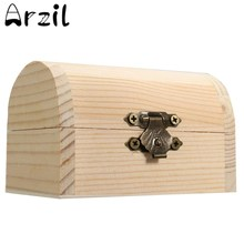 Storage Box Natural Wooden With Lid Golden Lock Postcard Home Organizer Handmade Craft Jewelry Case Bank Money Box