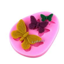(5pieces/lot) 3 cavities pink different butterfly shapes soft silicone fondant mould sugar craft molding pad for cake decoration(China)
