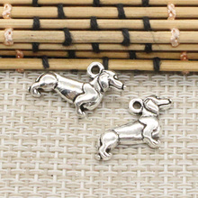 10pcs Charms dog dachshund 20*15mm Tibetan Silver Plated Pendants Antique Jewelry Making DIY Handmade Craft(China)