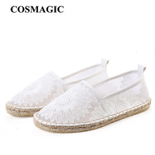 Fashion Casual Women Flower Espadrilles Flat 2017 New Summer Embroider Slip on White Fishermen Hemp Rope Loafers Shoe