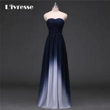 New Arrival Gradient Chiffon Prom Dress Evening Dress Strapless Ombre Dress Navy Blue Real Photo(China)