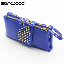 2016 New Design Women Rivet Zipper Wallet Holder Card Coin Clutch Purse Wristlet Evening Bag Gifts(China)