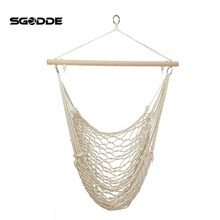 SGODDE Outdoor Hammock Chair Hanging Chairs Swing Cotton Rope Net Swing Cradles Kids Adults Outdoor Indoor Swing Seat Chair
