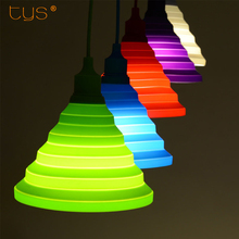 Modern Pendant Lights Fashion Simple Colorful Silicone Lamps DIY Design Changeable lampshade Twelve colors E27 Holder(China)