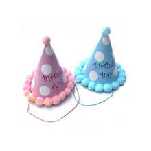 HAOCHU 5Pcs/lot Hats Birthday Suppliers Children Cute Colorful Cone Caps Photograph Items DIY Kids Boy&Girl Birthday Party Decor(China)