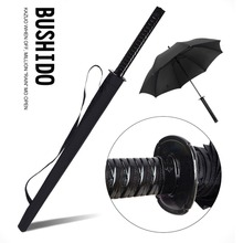 Large Ninja-like Japanese Samurai Sword Umbrella Long-handle Rainy Sunny Straight Umbrella 8/16/24 Ribs Black Durable Anti-UV(China)