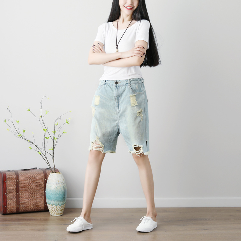Women Vintage Bleached Holes Ripped Denim Pants Knee Length Denim Trousers Distressed Elastic Waist Jeans Female Light Summer