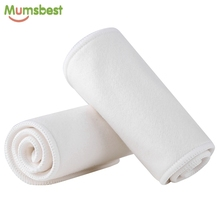 [Mumsbest] 1Pc Retail Orangic Cotton Bamboo Nappy Liners 4 Layers Baby Cloth Diaper Washable Reusable Bamboo Cotton Insert