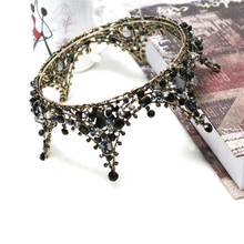 Baroque Princess Handmade Black Crystal Big Round Crown Tiara Bridal Hair Jewelry Wedding Hair Accessories Headbands For Women