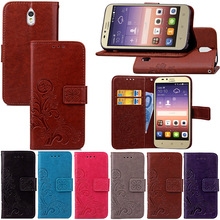 Four Leaf Clover Pattern Leather Cover For Huawei Y625 case Wallet Flip Style Mobile Phone Bag with Card Holder + Hand Strap